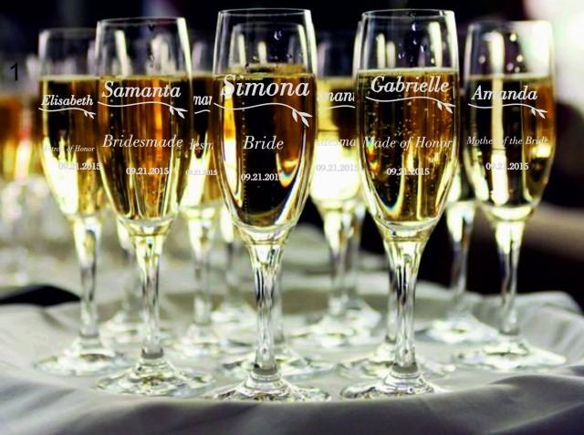7 Personalized Bridesmaid Champagne Glasses, Bridesmaids
