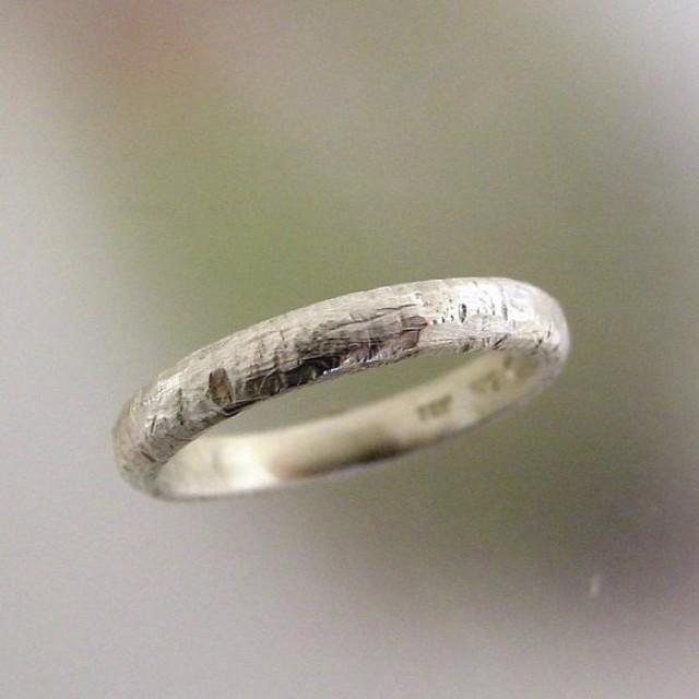 Rustic Silver Wedding Band Mens Simple Sterling Wedding Ring