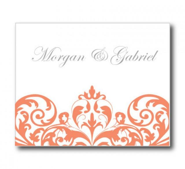 Wedding Thank You Card Template INSTANT DOWNLOAD Damask Coral – Microsoft Thank You Card Template