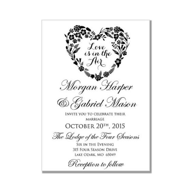 wedding invitation template love is in the air heart wedding
