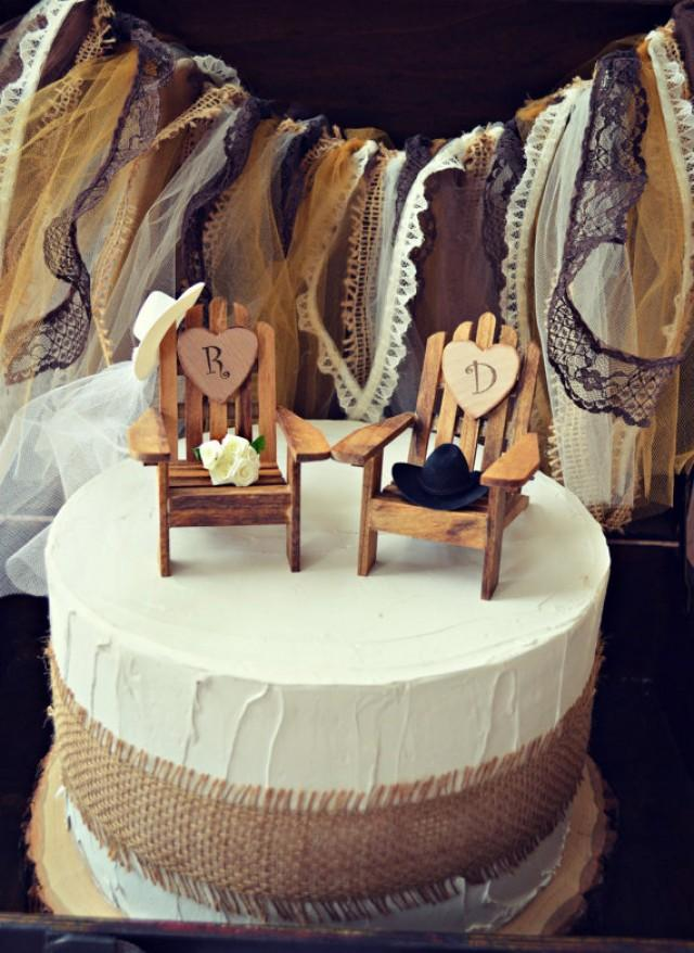 Western Country Rustic Wedding Cake Topper Fall Hat Boots