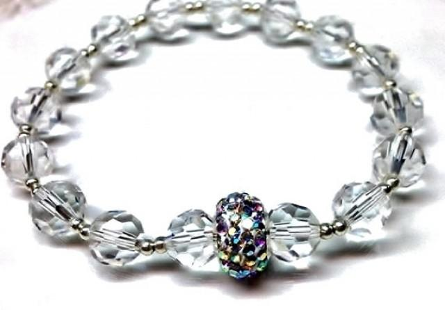 cf3408131 Bridal clear crystal bracelet, with Swarovski crystal AB rondelle bead and  silver spacer beads. bridal jewelry, wedding,gifts