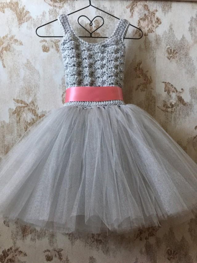Gray And Coral Flower Girl Dress Birthday Tutu Dress Crochet Tutu
