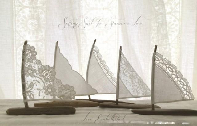 Five 4 To 5 Inch Driftwood Sailboats Antique Lace And