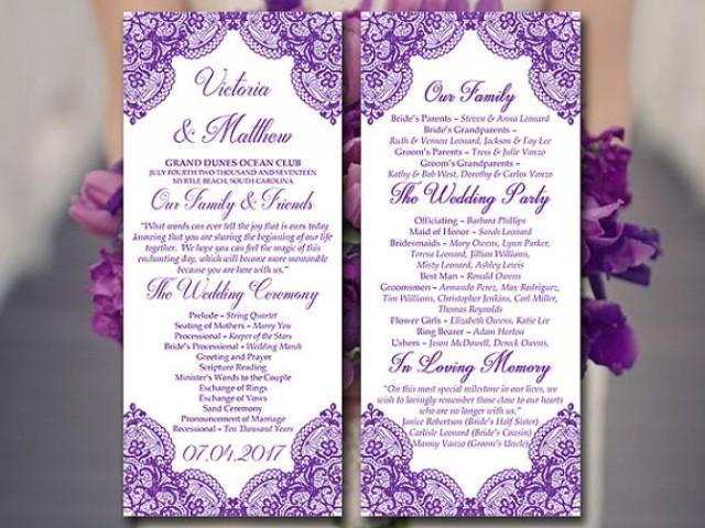Lace Wedding Program Template Tea Length Program Grape Vera