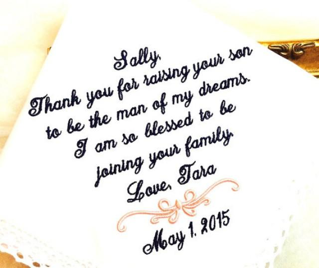 Wedding Handkerchiefs For The Family: Wedding Gift For Mother Of The Groom Handkerchief