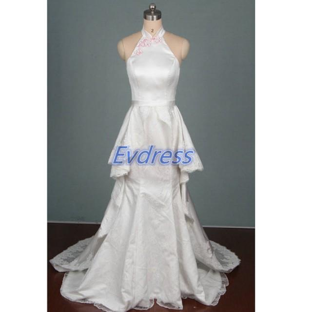 2015 floor length ivory lace wedding gowns hot chic for Wedding party dresses cheap