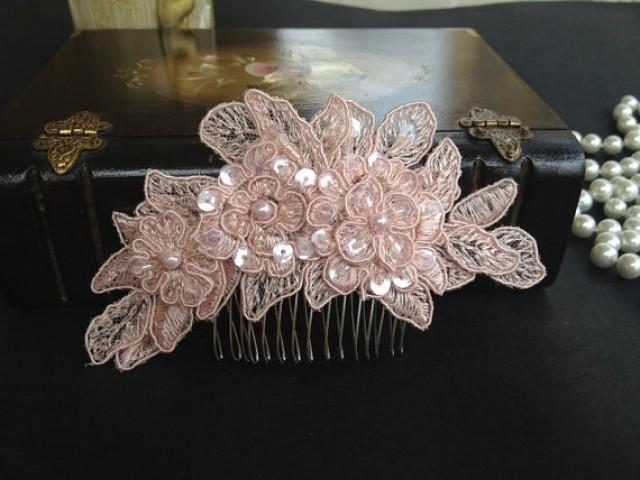 Bridal Hair Accessories Wedding Head Piece Blush Pink Beaded Lace Comb