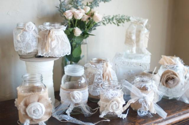 Vintage Table Decorations Set Of 10 Burlap And Cream
