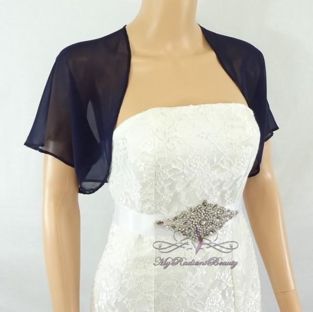 Navy blue chiffon jacket bridal bolero wedding bolero for Wedding dress bolero jacket