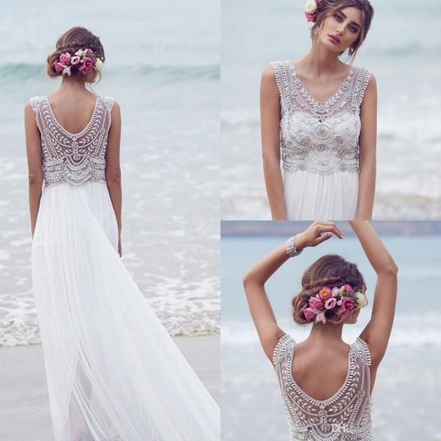 Shop Online Beach Wedding Dresses Cheap Wedding Dresses: Anna Campbell 2016 Wedding Dresses Beading Crystals