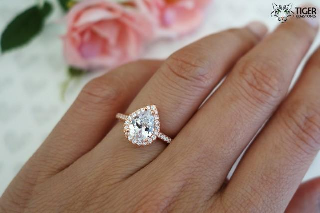 1 5 Carat Pear Cut Halo Engagement Ring Flawless Man Made