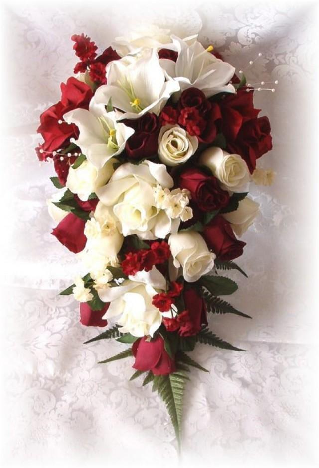 Wedding Bouquets Bridal Silk Flowers 21pc Burgundy Cream