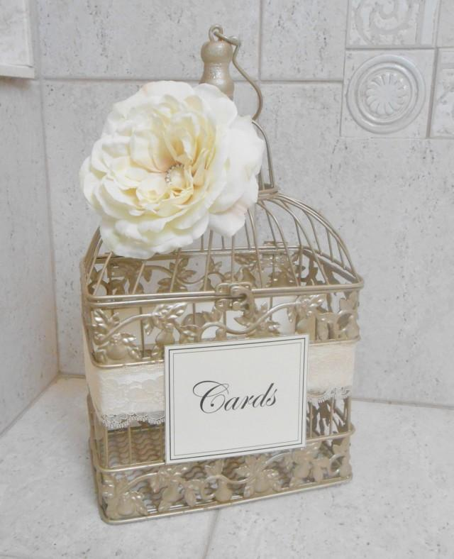 Ideas For Wedding Card Holder: Small Champagne Gold Wedding Birdcage Card Holder