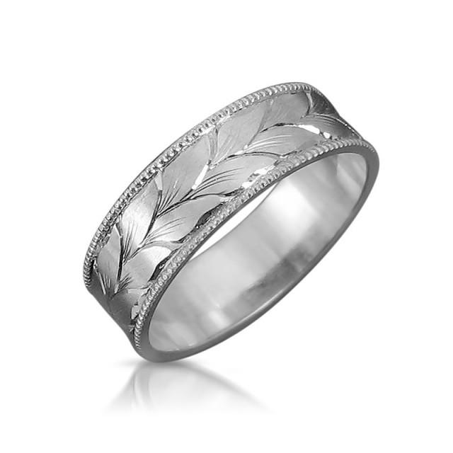 Leaves Wedding Band Mens Wedding Ring, White Gold Wedding