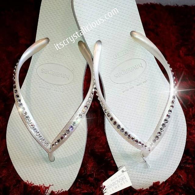 4633a3aa0b34 White Havaianas Covered In SWAROVSKI Crystal Bling Flip Flops - 1 Row   2395971 - Weddbook