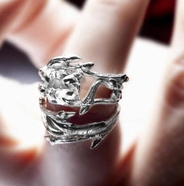elvish herkimer diamond ring twigs and natural crystal stone engagement ring 2396395 weddbook - Elvish Wedding Rings