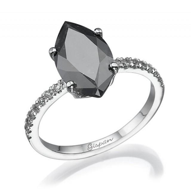 Black Diamond Wedding Rings: Marquise Black Diamond Engagement Ring White Gold With