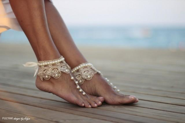 4cda0ae2a Dance Of The Pearls With Champagne Frilly Guipure Beach Wedding Barefoot  Sandals, Bangle, Wedding Anklet,nude Shoes,boho Sandal,cuff #2396457 -  Weddbook