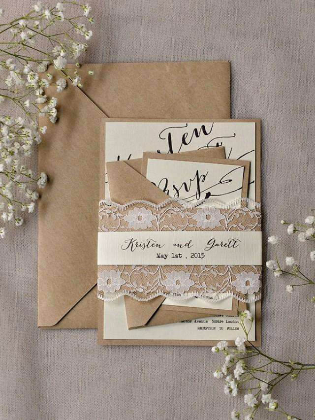 rustic lace wedding invitations  20   calligraphy wedding