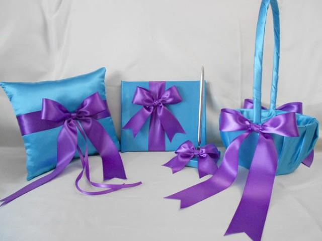 Wedding Accessories Turquoise Purple Flower Girl Basket Ring ...