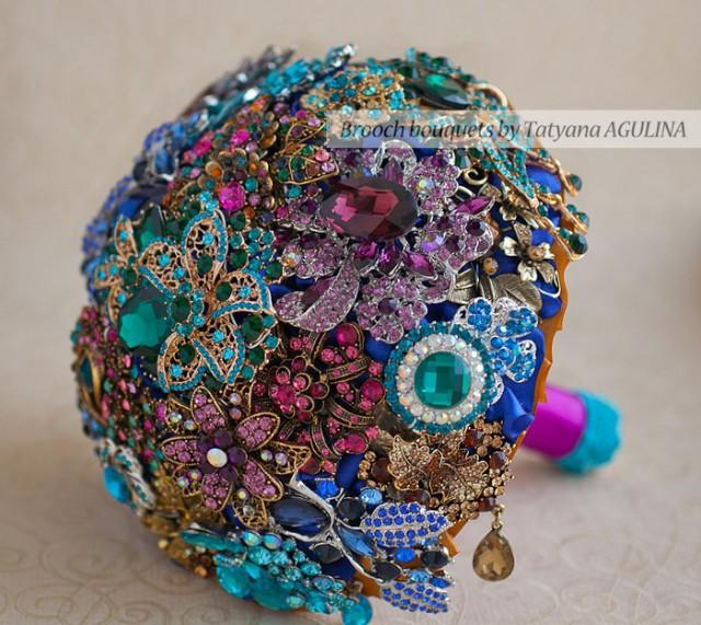 Brooch Bouquet Purple Teal And Gold Wedding