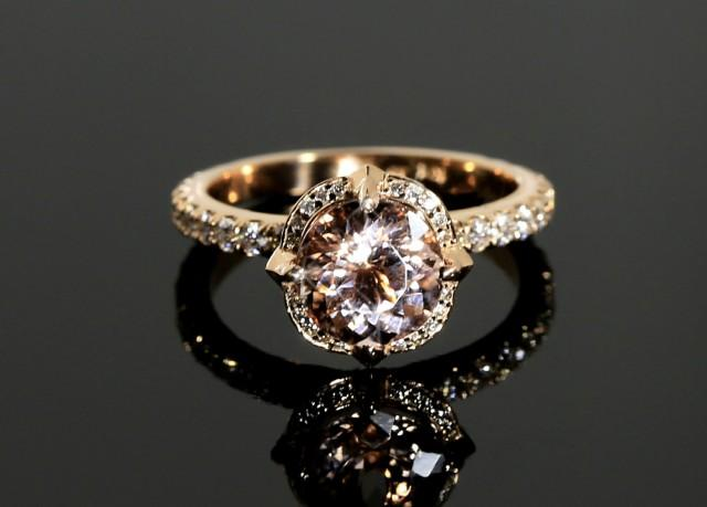 Morganite Engagement Ring With Diamonds In Rose Gold Halo