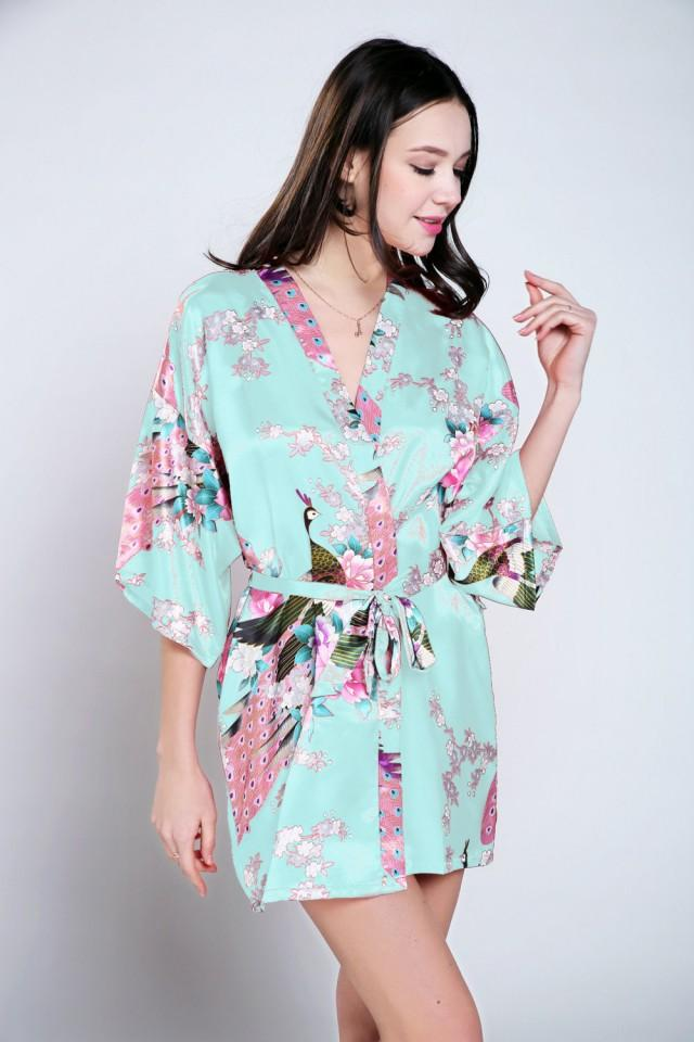 Blue Satin Dressing Gown Bride Dressing Gown Floral Dressing Gown