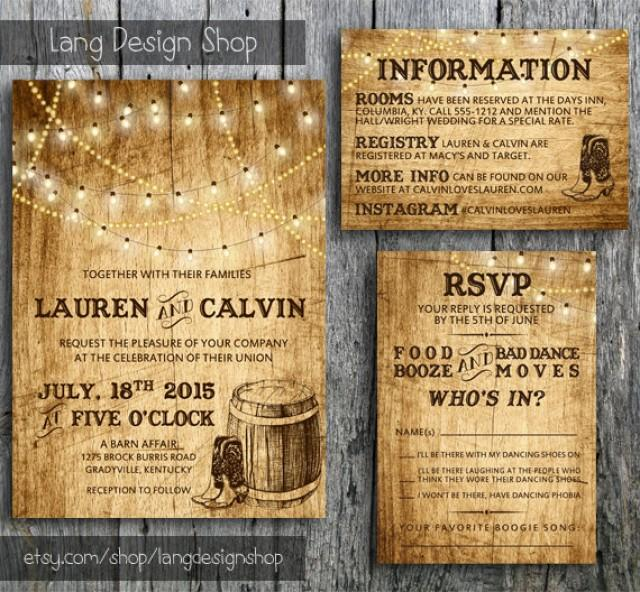 Country Wedding Invitation Suite With Lights And Cowboy