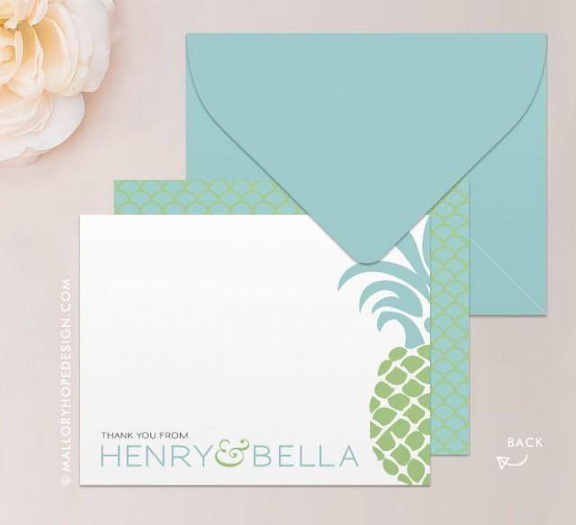 Do You Buy A Gift For A Destination Wedding: Tropical Pineapple Stationery Set, Note Card, Thank You
