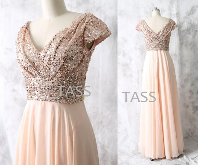 Rose Gold Sequin Chiffon Long Bridesmaid Dress Cap