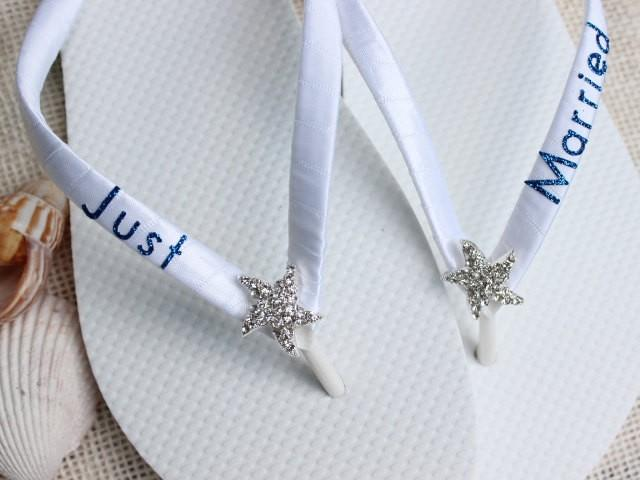 Just Married Gift Bride Flip Flops Bridal White Beach Wedding Shoes Sandals Royal Blue 2398454
