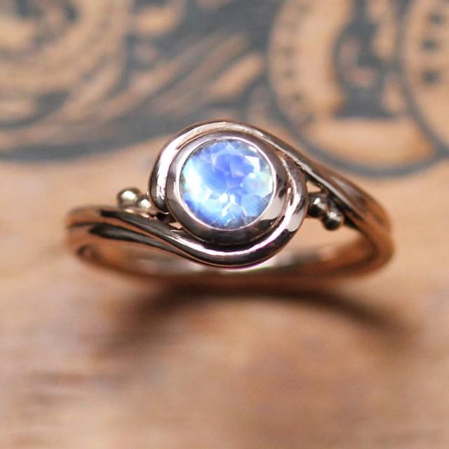 Rose Gold Moonstone Ring Unique Engagement Ring With