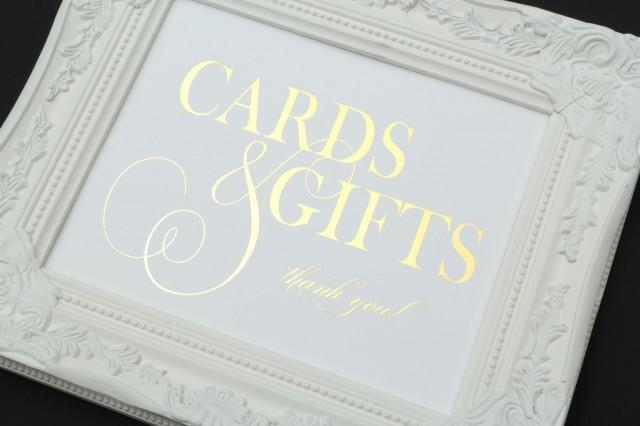 Cards And Gifts Wedding Sign 8 X 10 Gold Foil Wedding