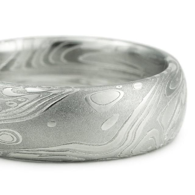 Men's Wedding Ring - Domed With Flowing Pattern Like Water ...