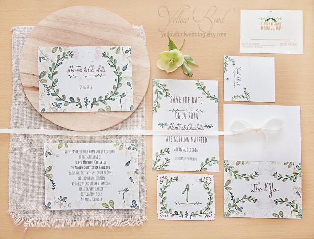 Floral Wedding Invitation Set. Hand Painted, Handwritten Text.  Customizable. DIY Wedding. Printable PDF Invitation Set. Budget Wedding  #2399754   Weddbook