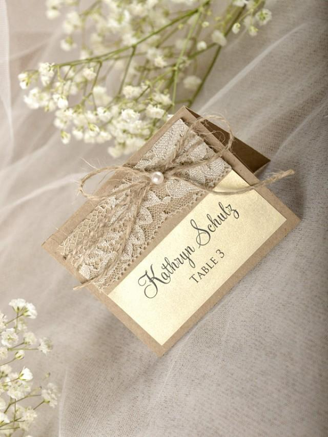 Rustic Place Cards (20), Lace Place Cards, Wedding