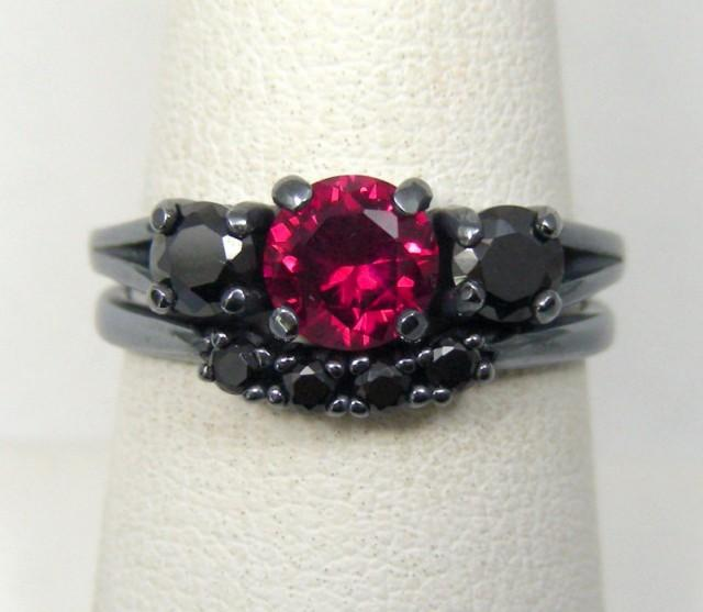 3 DAY SALE Gothic Wedding Rings Goth Engagement #2400097