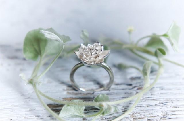 lotus flower engagement ring ring sterling silver