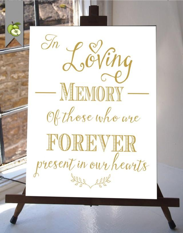 In Loving Memory Wedding Sign Memorial Table Gold And White Diy Printable Instant Your Whitesuite 2400661 Weddbook