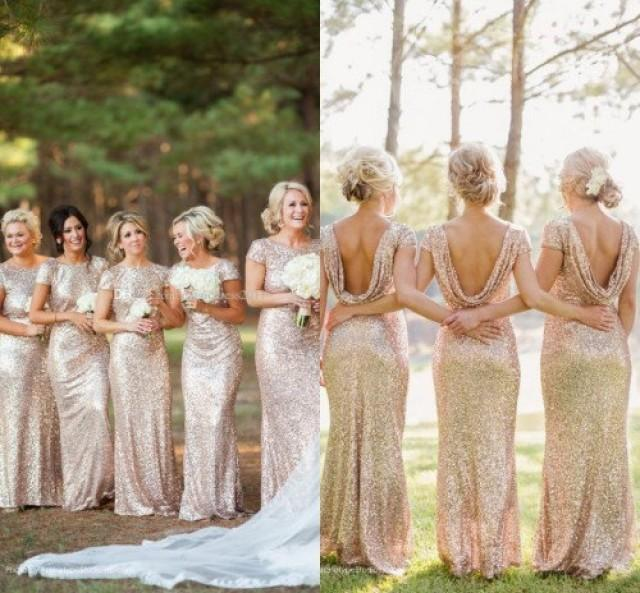 Reserved For Catlin S Bridal Party Custom Order Full Length Maxi Light Gold Sequin Bridesmaids Dresses 2401429 Weddbook
