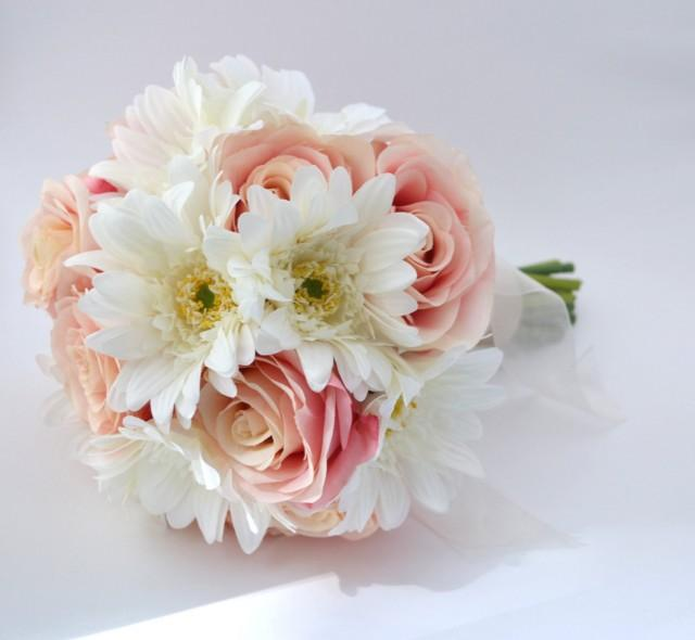 Pink rose and white gerbera daisy bouquet bridesmaid bouquet or pink rose and white gerbera daisy bouquet bridesmaid bouquet or small bridal bouquet pink and white fresh looking artificial flowers 2401569 mightylinksfo