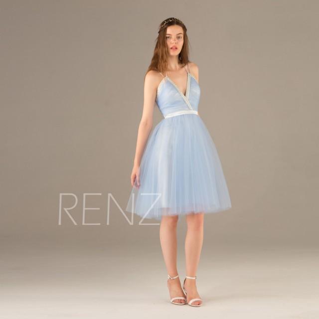 2015 Light Blue Bridesmaid Dress, Beaded
