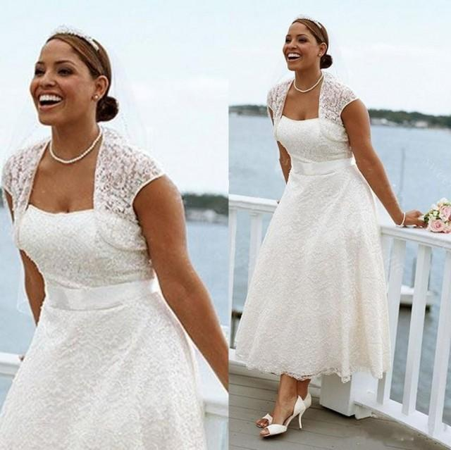 Sexy Plus Size Summer Beach Short Wedding Dresses Lace
