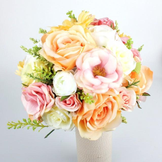 Coral And Pink Wedding Flowers: Wedding Silk Flower Rustic Bouquet, Bridal Bouquet