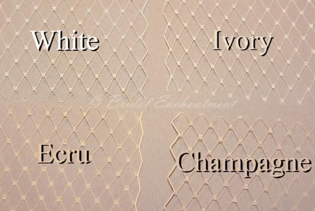 Birdcage Veil Fabric Sample French Netting Color Swatch White Ivory Champagne 2402078 Weddbook