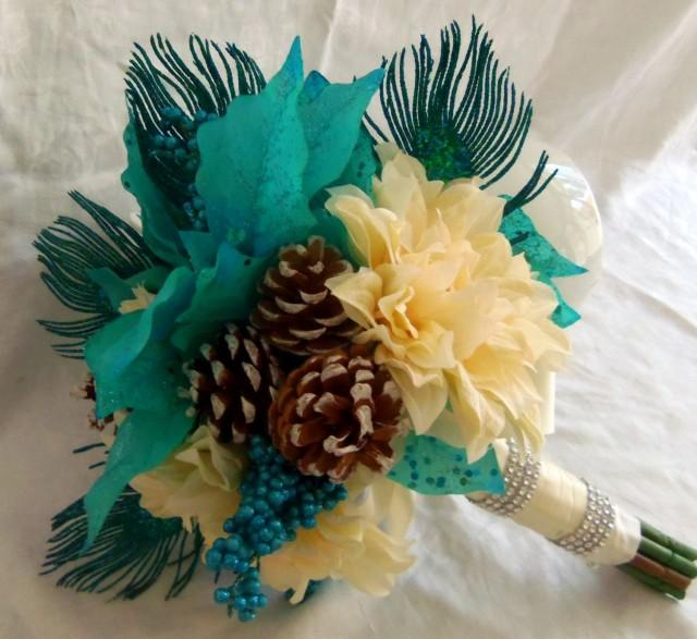 Diy Feather Bouquets Weddings: Winter Wedding Bouquet-Peacock Feather Poinsettia Pinecone
