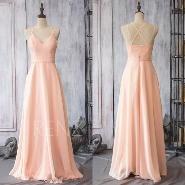 Wedding Dress Blush Wedding Dress Blush Bride Dress Pink: 2015 Peach Chiffon Bridesmaid Dress, Blush Pink Wedding