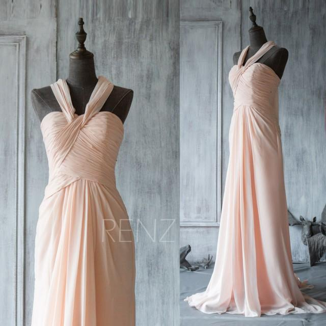 2015 Peach Chiffon Bridesmaid Dress, Halter Elegant Dress, Long ...