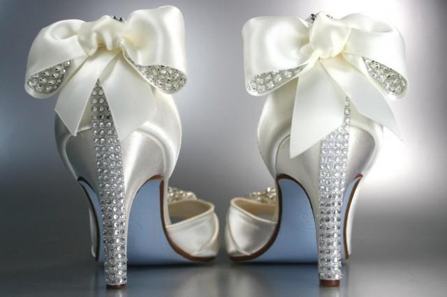 Wedding Heels With Rhinestones: Wedding Shoes -- Light Ivory Peep Toe Wedding Shoes With